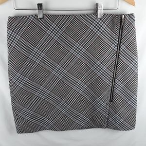 White and Black Houndstooth Pencil Skirt Zip Side